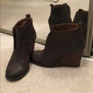 Lucky Brand distressed brown wedge booties size 8